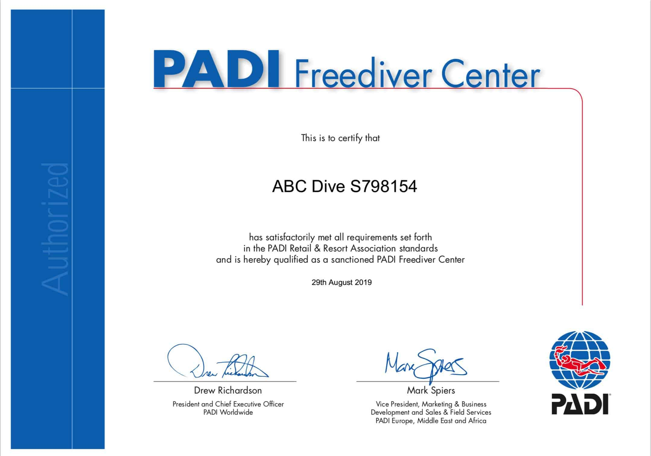 PADI Freediver Center certificaat